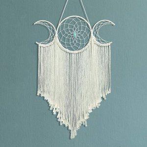 ⬇️ Macrame Woven Triple Moon Goddess Boho Wall Art